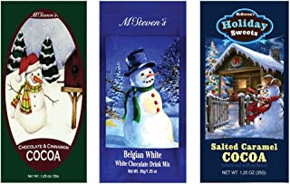 Salted Caramel Cocoa, Belgian White Hot Chocolate and Chocolate & Cinnamon Hot Cocoa Set of SIX Single Serve Packets - Best Gourmet Gift or Stocking Stuffer