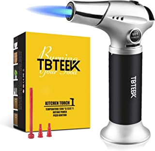 Butane Torch, Professional Kitchen Torch with Safety Lock & Adjustable Flame for Cooking, BBQ, Baking, Brulee, Creme, DIY ...