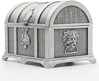 AVESON Rectangle Vintage Metal Treasure Chest Trinket Jewelry Box Gift Box Ring Case for Girls Ladies Women, Medium, Tin Color
