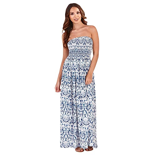 89b5b56aa4 Pistachio Tropical Or Floral Print Long Dresses Womens Bandeau Maxi