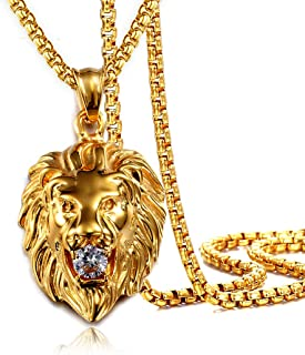 """Jewelry Kingdom 1 Mens Necklace Lion Pendant Necklace for Women and Men, 18K Gold Plated Stainless Steel, Shiny CZ Diamond, Comes With Rope Chain 24""""and Gift Box (Gold)"""