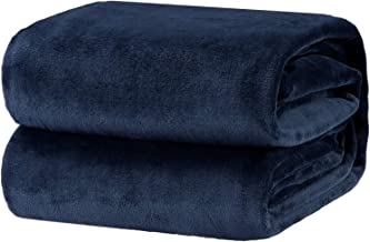 Bedsure Flannel Fleece Luxury Blanket Navy Twin Size Lightweight Cozy Plush Microfiber Solid Blanket