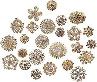 L'VOW Silver/Gold Color Sparking Wedding Bridal Crystal Brooch Bouquet Kit Pack of 10