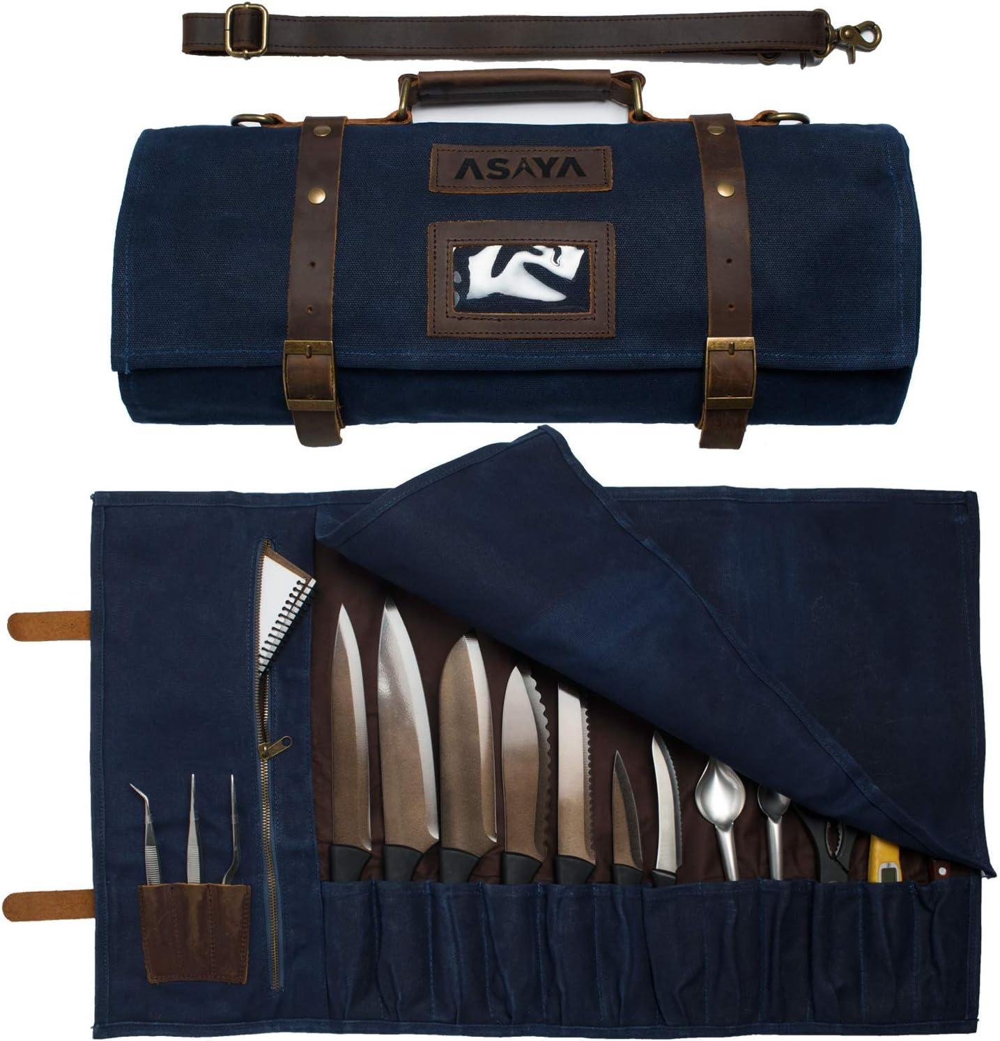 Asaya Waxed Canvas Knife High order Roll - Slots shopping Holder and 15 Card