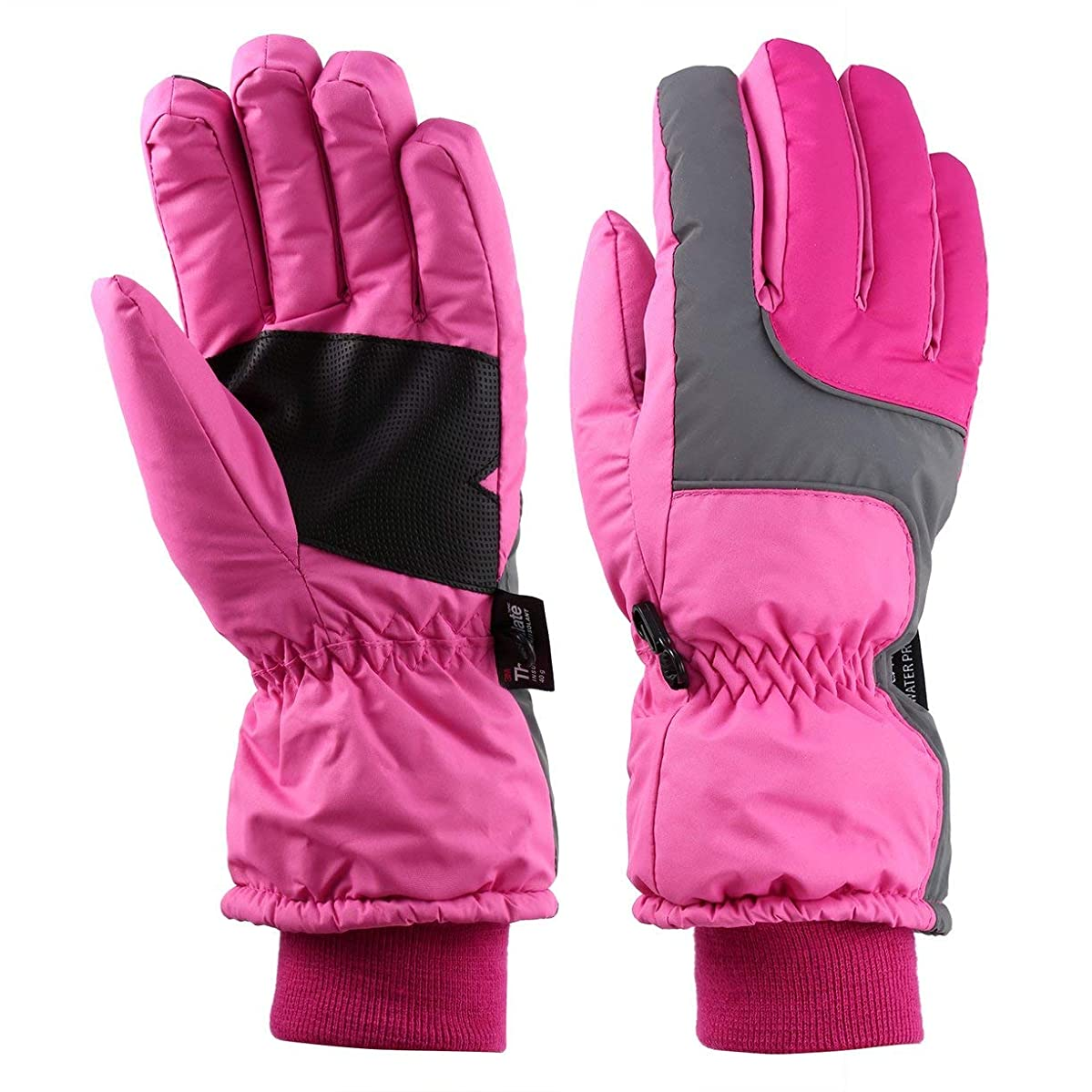 もつれゾーンシェルターOUTAD冬屋外ソフトライナー通気性防風&防水雪スキー手袋女性のための暖かい山登山手袋-ピンクS