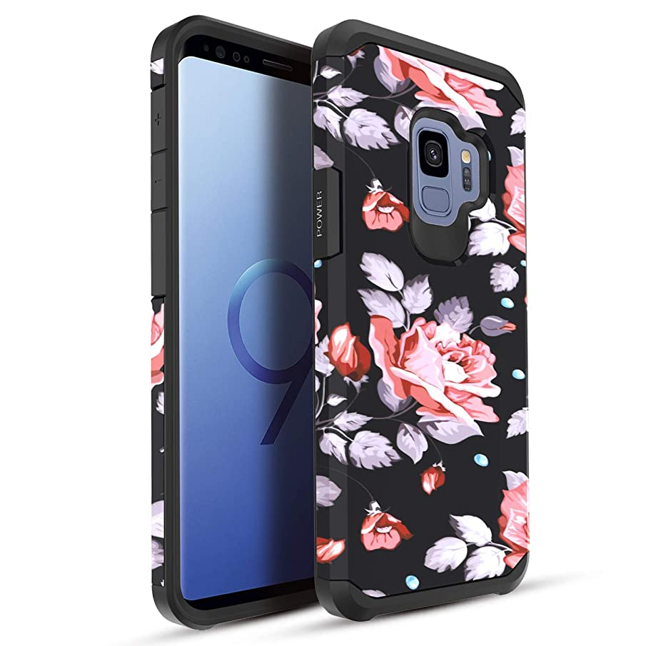 Casekey for Samsung Galaxy S9 Case, Galaxy S9 Phone Case Dual Layer Armor Hybrid Hard Heavy Duty Protective Case,Rose