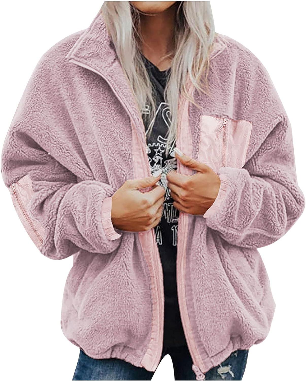 Haozin Women's Casual Lapel Fleece Jackets Coat Zipper Up Winter Shaggy Long Sleeve Outerwear With Pockets