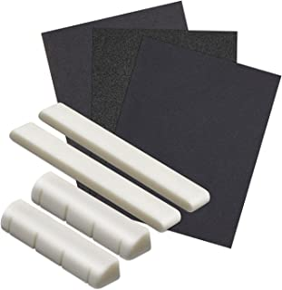 Blisstime 2 Sets of Bone Saddle and Nut 3 pcs Sand Paper For Ukulele Made of Real Bone