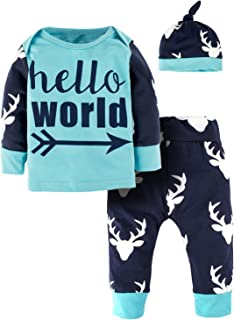 Toddler Boy 3 Piece Outfits Baby Girl Clothes Arrow Letter Hello World Tops+Deer Pants Set