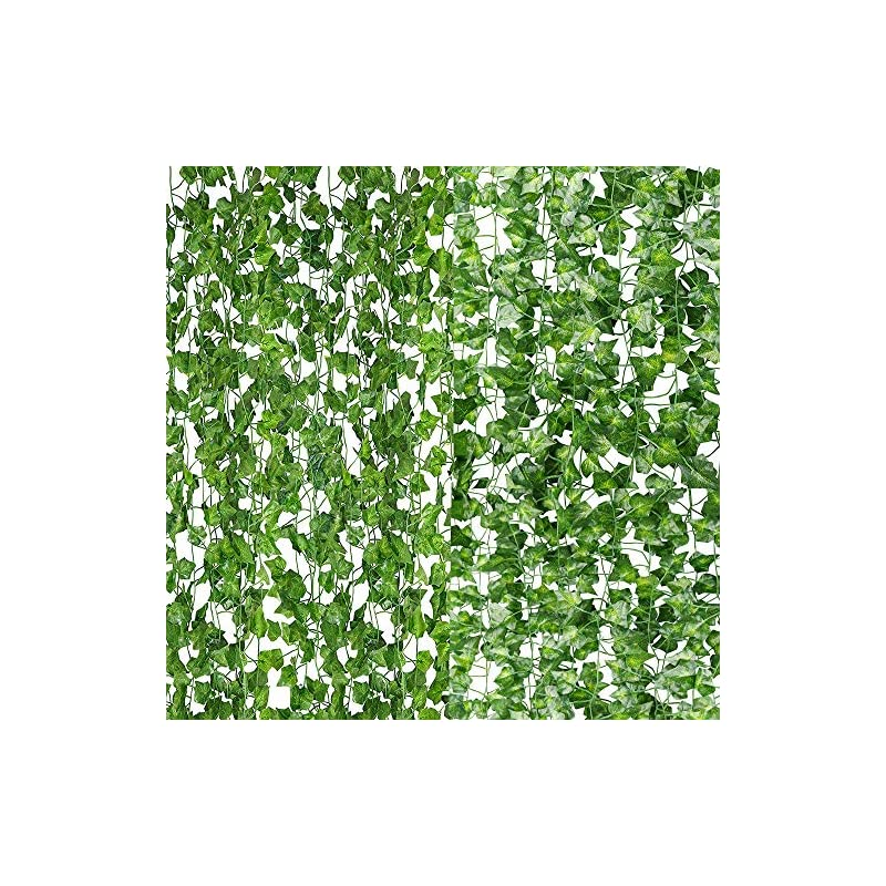 silk flower arrangements 84ft artificial vines with leaves fake ivy foliage flowers hanging garland 12pcs individual strands artificial tropical leaves,home party wall garden wedding decors indoor outdoor