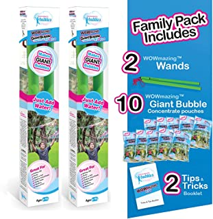 WOWMAZING Giant Bubbles Family Pack - Best Value - Big Bubbles kit Including Big Bubble Wand and Giant Bubble Solution Concentrate (Makes 3 Gallon of Large Bubbles)