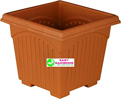Easy Gardening 8 Inch Square Pots - Square Planters Terracotta Color (Pack Of Six)