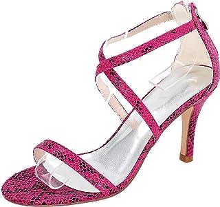 Vimedea Womens Ankle Strap Dress Sexy Heeled Sandals Wedding Bride Open Toe PU 9920-12S