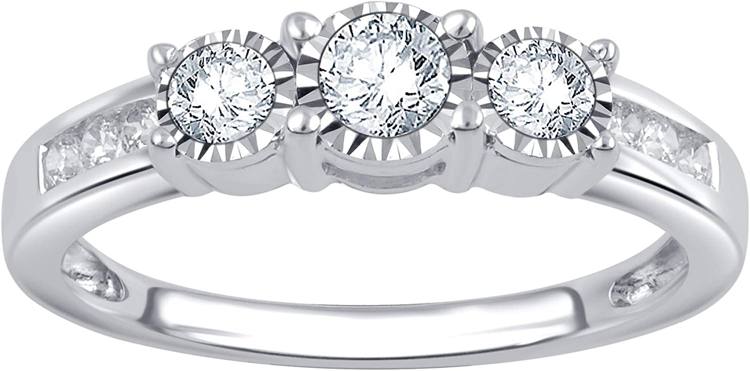 1/2 Carat Diamond, Prong-Set, 10k White Gold Round-cut Diamond Three Stone Engagement Ring (I-J Color, I2-I3 Clarity)   Real Diamond Rings For Women   Gift Box Included  by La4ve Diamonds