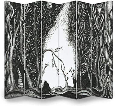 Wood Screen Room Divider Ink drawing of a dark night fantasy forest Trees moon eyes roots in Folding Screen Canvas Privacy Pa