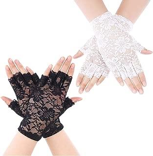 kiiier Sunblock Fingerless Bridal Lace Gloves Short Floral Gloves for Women