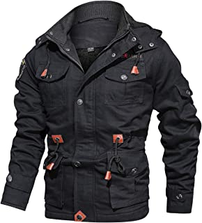 Men's Winter Warm Military Jacket Thicken Windbreaker Cotton Cargo Parka Coat with Removable Hood