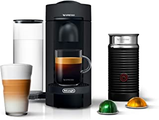 Nespresso VertuoPlus Coffee and Espresso Maker Bundle with Aeroccino Milk Frother by De'Longhi, Limited Edition Black Matte