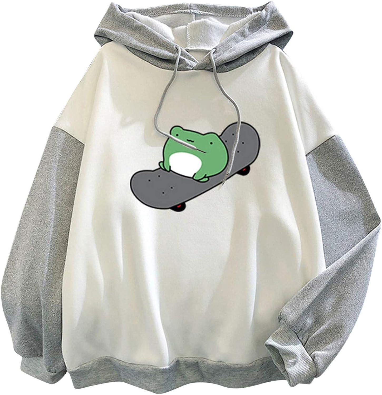 Kawaii Hoodies Cute Frog Print Hoodie for Women Teen Girls Hooded Sweatshirt Casual Pullover Tops