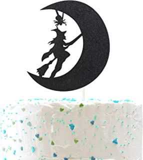 Witch and Moon Halloween Cake topper,Halloween Wreath Ghost Happy Halloween Party Decorations( Double Sided Gold Glitter )
