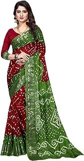 Indian red green Bandhej Art Silk Zari weaving Festival Bandhani Printed Saree Blouse Sari 6316