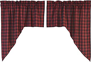 VHC Brands Rustic & Lodge Kitchen Window Curtains - Cumberland Red Swag Pair, Chili Pepper