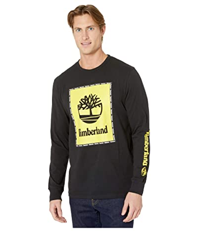 Timberland Long Sleeve Box Logo Graphic Tee (Black) Men