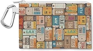 Luggage Tags Retro Canvas Zip Pouch - Multi Purpose Pencil Case Bag