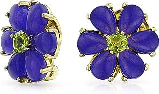 Purple Dyed Jade Flower Green CZ Button Style Clip On Earrings Non Pierced Ears 14K Gold Plate 925 Sterling Silver