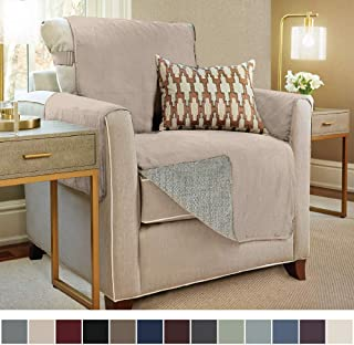GORILLA GRIP Original Slip Resistant Chair Protector for Seat Width up to 23 Inch, Patent Pending Suede-Like Furniture Slipcover, 2 Inch Straps, Chairs Slip Cover Throw for Dogs, Pets, Armchair, Taupe