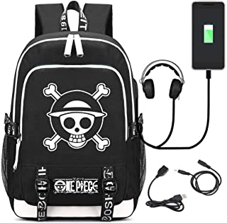 YOYOSHome Luminous Anime One Piece Cosplay Bookbag Daypack Laptop Bag Backpack School Bag with USB Charging Port