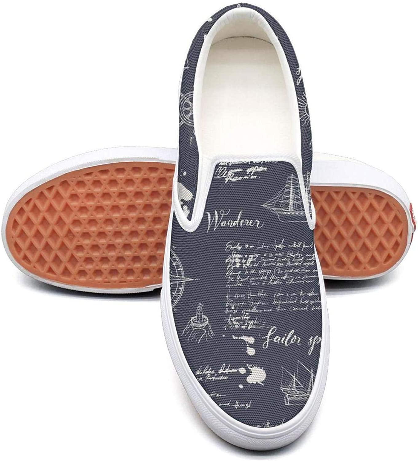 Vintage Moon Trave Womens Flat Slip on Low Top Canvas Deck shoes