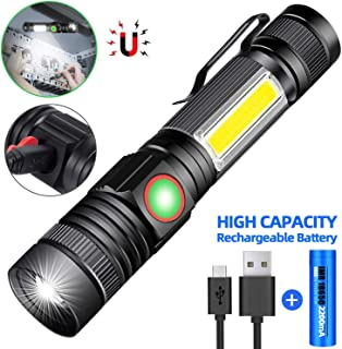 Rechargeable LED Flashlight, Magnetic Flashlight(included Battery), Super Bright Pocket-Sized COB Work Light T6 LED Torch with Clip, Zoomable, Water Resistant, 4 Modes for Camping Hiking