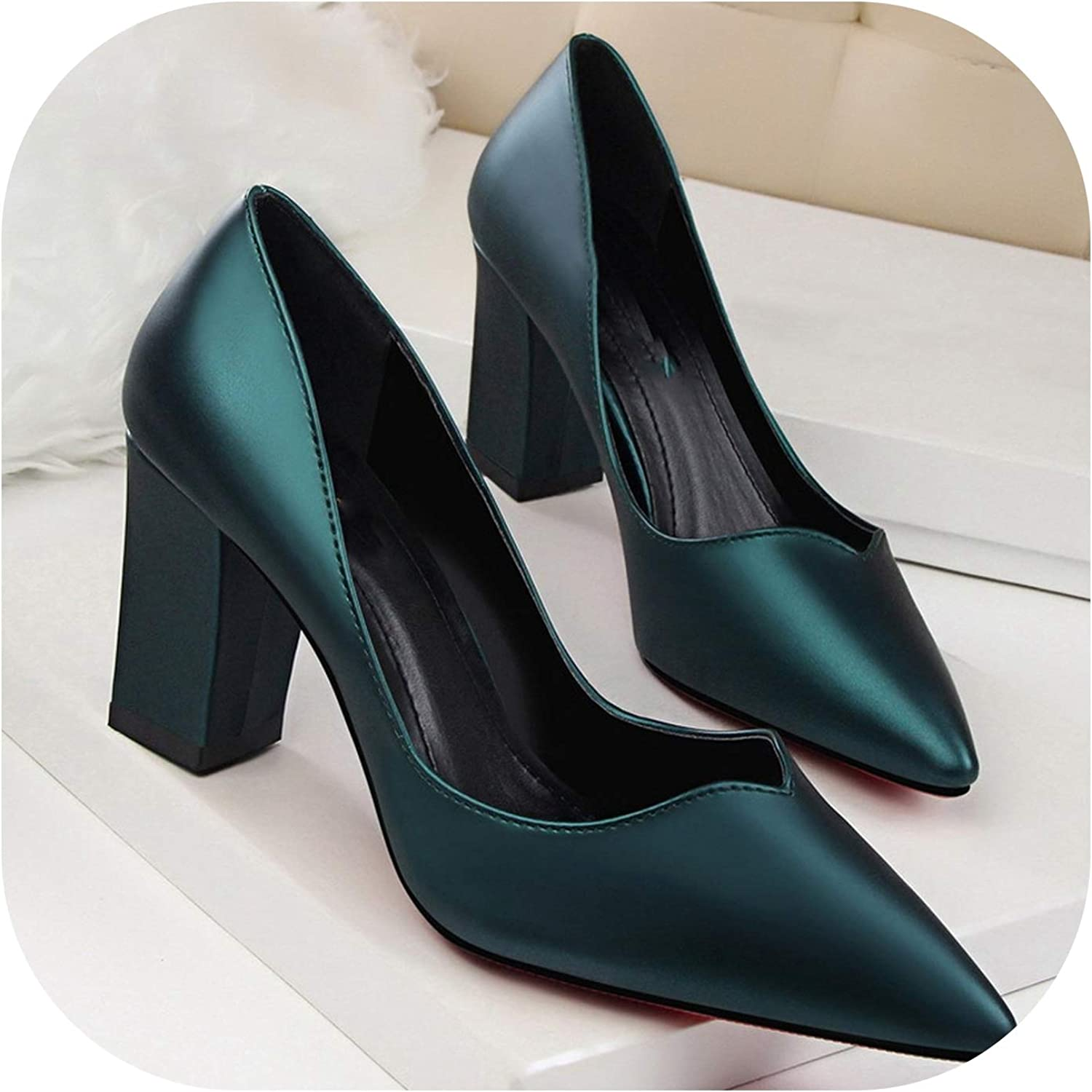 Women Pumps Thick high Heel Leather Shallow Mouth Pointed Hollow Out Single shoes