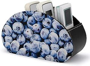 Télécommande TV - Boîte de rangement pour support de télécommande TV avec 5 compartiments - Bleuets en cuir PU Petit range...