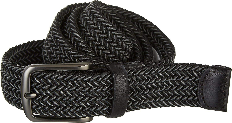 Perry Ellis Men's Woven Stretch Leather-Trim Belt, Gray, Medium