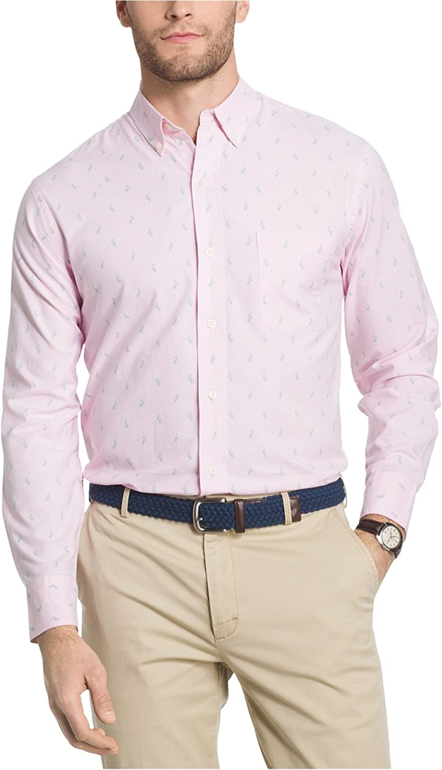 IZOD Mens Penguin Button Up Shirt, Pink, Small
