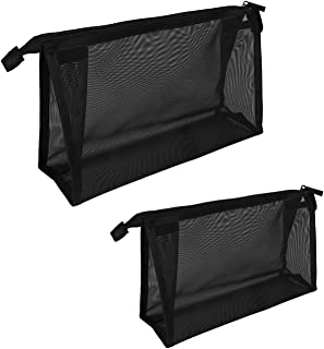 Mesh Makeup Bag See Through Zipper Pouch Travel Cosmetic and Toiletries Organizer Bags for Women Large & Medium (Black)