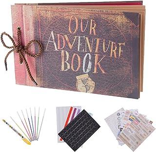 RECUTMS Album de Fotos Pixar Up Álbum de Fotos Hecho a Mano DIY Family Scrapbook Extensible 11.6x7.5 Pulgadas 80 páginas con Kit de Accesorios de Bricolaje de la Caja Our Adventure Book