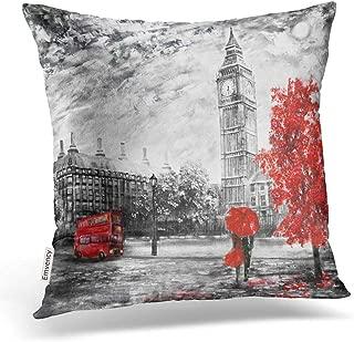 Emvency Throw Pillow Covers Oil Painting On Canvas Street View London Artwork Big Ben Man Woman Decor Pillowcases Polyester 16 X 16 Inch Square Hidden Zipper Home Cushion Decorative Pillowcase