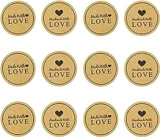 IMagicoo 480 pcs Handmade with Love Sticker, 1.5 inch Round Kraft Handmade Bakery Decorative Label Sticker