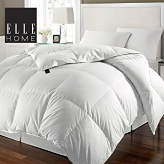 Blue Ridge Home Fashions ELLE Home 240 Thread Count 100% Cotton Solid Cover White Feather and Goose Full/Queen 88 x 88 Down Comforter