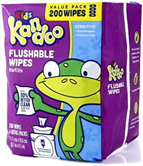 Flushable Wipes for Baby and Kids by Kandoo, Unscented for Sensitive Skin, Hypoallergenic Potty Training Wet Cleansin...