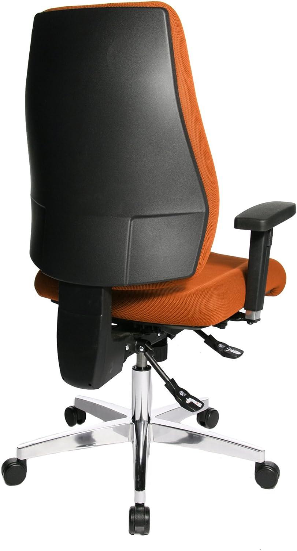 Topstar PI99GBC0 P91, Bürostuhl, Schreibtischstuhl, breiter Muldensitz, inkl. höhenverstellbare Armlehnen, Konturpolsterung, Bezug schwarz Orange