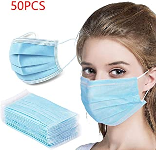 JJIIEE Disposable Dust Filters Activated Carbon,Easy to wear Face Breathing Filter,3 Level Non-Woven for Adults, Children and The Elderly (50PCS)