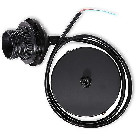 kwmobile Câble électrique pour lampe - Câble avec douille E27 et bague de fixation - Monture de suspension pour luminaire plafond - Noir