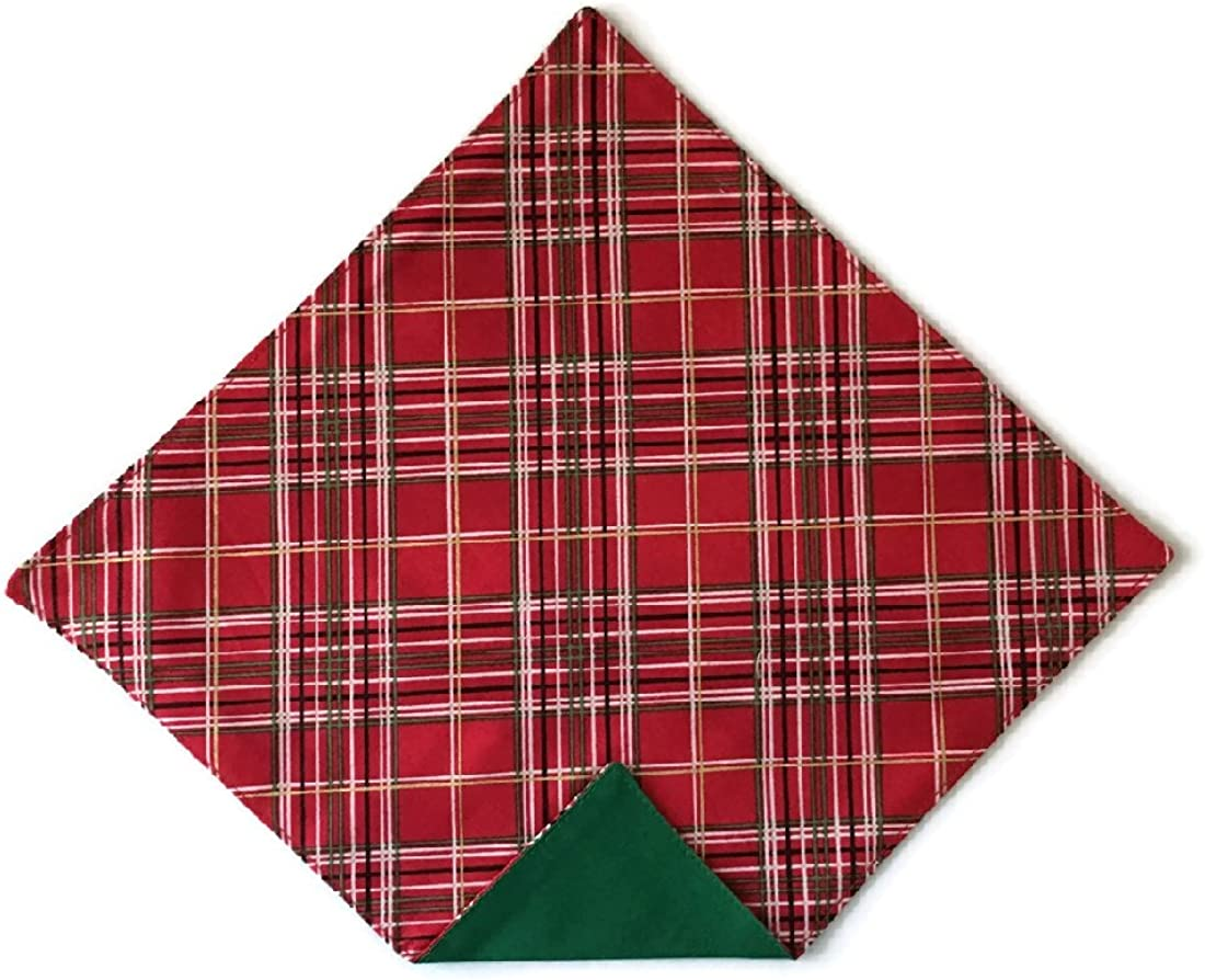 Holiday Bow Ties Mens Pocket Square Holiday Red Plaid with Gold Metallic Hanky