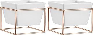 AmazonBasics Tabletop Planter, Square - White/Copper (2-Pack)