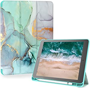 iPad 5th/6th Generation Case, iPad Air 1/2 Case, Feams Slim PU Leather iPad 9.7 Inch Case with Pencil Holder & Smart Auto Sleep Flip Stand Cover for iPad 9.7 inch 2017/2018, Green Marble