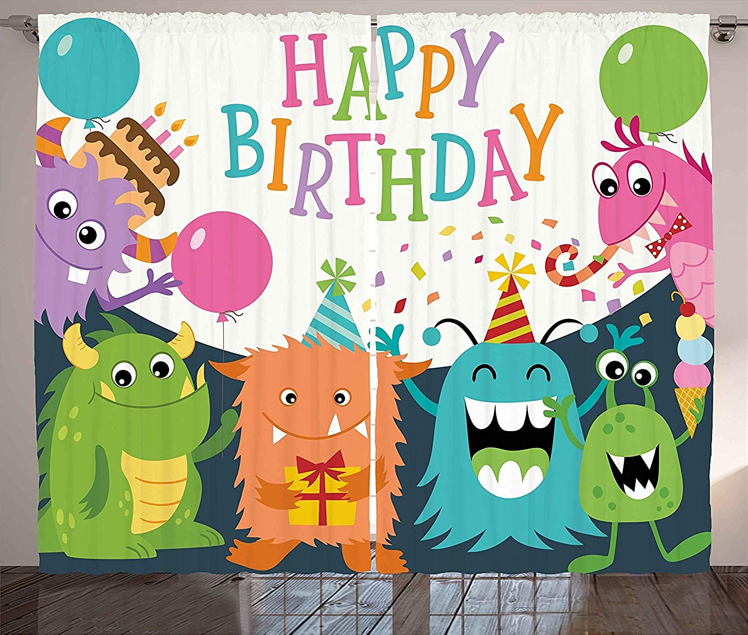 Birthday Decorations for Kids Polyester Curtains with Holes, Little Baby Monsters Party Cones Confetti Balloons Image,2 Panel Drapes Window Treatment for Living Room Bedroom,55 W x 39 L inches